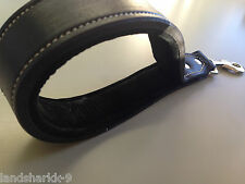 Black Pure Leather Short Lead & Firm Control Handle with Padded Suede Lining