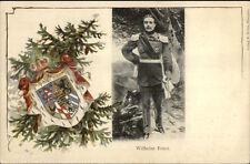 German Military Soldier Uniform w/ Sword - Crest WILHELM ERNST c1900 Postcard