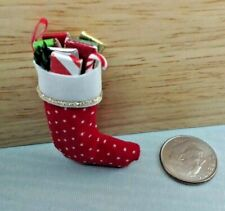 Dollhouse Miniature Filled Christmas Stocking Handcrafted by Amy Robinson 1:12