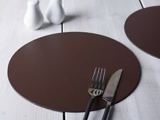 Set of 4 BROWN ROUND PLACEMATS Leatherboard Tablemats