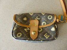DOONEY & BOURKE Coated Canvas & Leather Wristlet Mini Bag Handbag Purse