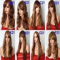 BROWN BLONDE Wig Long Wavy Straight Full Ladies Hair Fashion Wig costume #6/27