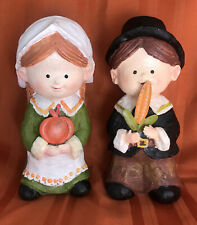 "Thanksgiving Pilgrims Boy&Girl Made Of Resin 8"" Tall"