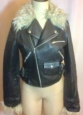 H&M Real Leather Moto Jacket Faux Shearling Black Extra Small