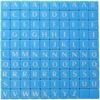 100 x BLUE PLASTIC TILES WHITE LETTERS FOR ART & CRAFTS KIDS SCRAPBOOK UK