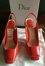 Christian Dior NEW Box Hyacinth Red Coral Lolli Patent Leather Slingbacks 37 7 M