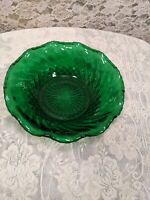 Vintage Anchor Hocking Emerald Green Candy Dish