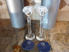 Pair Swarovski Austrian Crystal Candle Holders Faceted Art Glass Flower Topper