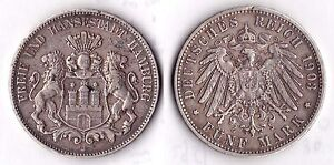 5 MARK HAMBURG 1903J SILVER COIN