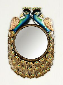 """Ethnic Designer Peacock Wall Unique Wooden 18"""" Frame with 8"""" Mirror Vintage-013"""