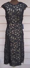 NEW $2495 Monique Lhuillier 12 Black Ribbon Guipure Lace Midi Dress