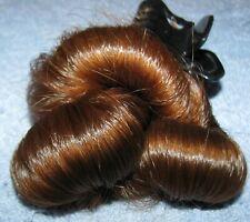 HUMAN HAIR HAIRCUT 15 INCH LONG WAVY COARSE AUBURN RED PONYTAIL REBORN DOLLS H58
