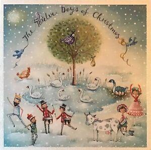 12 Days of Christmas Charity Christmas Card~Glitter finish~Cute SINGLE CARD~13cm