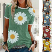 Women Summer Short Sleeve Casual Crew Neck T Shirt Floral print Loose Top Blouse