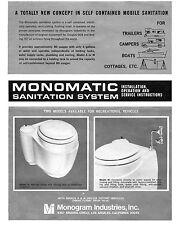 VINTAGE 1966 MONOMATIC RV TOILET INSTALLATION OPERATION & SERVICE MANUAL CD