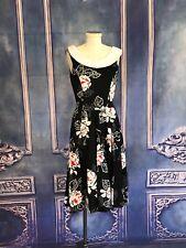 Vintage 80s Black Floral Sailor Style Tea Dress Xs/Small Woven Cotton Full Skirt