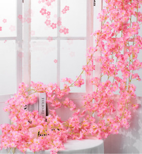 1.8M Artificial Sakura Flowers Fake Vine Ivy Hanging Garland Floral Wedding AU