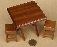 Mesa plegable de madera cuadrado de escala 1:12 & Taburetes Casa De Muñecas Muebles Llano