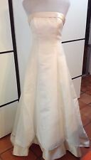 Michaelangelo Davids Ivory Strapless Wedding Dress Gown Lace up back bustle sz 4