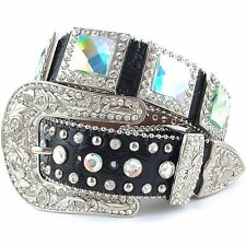 *SALE* Western Iridecent Square Concho Bling Belt with Black Croc Leather Small