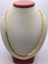 "New 14K Yellow Gold Solid 22"" Square Byzantine Chain Necklace 46 grams 3.5 mm"