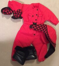 Pleasant Company American Girl Red Dog Sledding Outfit Gloves Boots Hat Snowsuit