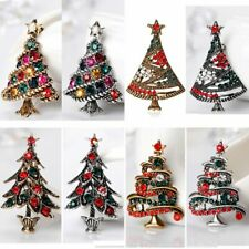 Retro Lots 8Pcs Women Silver/Gold Crystal Christmas Tree Brooch Pins Xmas Gift
