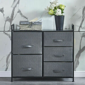 Fabric Chest of 5 Drawers Cabinet Clothes Shoe Storage Wardrobe Sofa Table Stand
