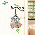 Flower Bird Cage Removable Wall Sticker Living Room Decor Mural Art Home Decal