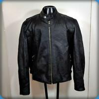 WILDA Cafe Racer Leather MOTORCYCLE JACKET Mens size 3XL Black w/ liner