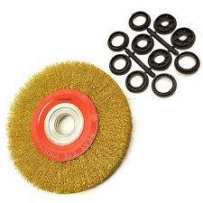 """200mm 8"""" Steel Wire Wheel / Brush Adapters 6"""" and 8"""" Bench Grinders Sil148"""
