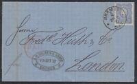 32441) BREMEN * 4 * LUXUS Stempel 1876 auf Brief nach LONDON Mi.-Nr. 34 EF