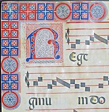 Huge dec. Antiphonary Manuscript Lf.Vellum,large deco.Border&Initial,1500#121