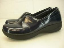 Womens 8.5 9 39 Dansko Abigail Patent Leather Navy Blue Loafer Shoes Clogs Wedge