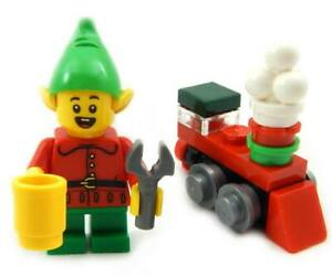 NEW LEGO CHRISTMAS ELF MINIFIG w/toy holiday train figure santa claus minifigure
