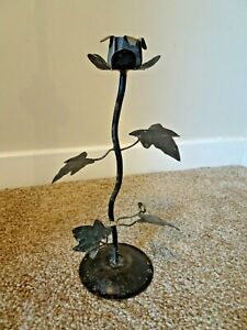 Vintage Cast Iron with Gilt Accents Taper Candlestick in Flower Shape (Bud Leaf)