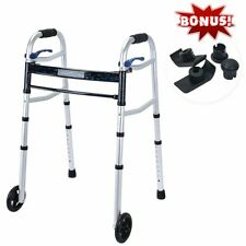 """Healthline Compact Trigger Release 350 lbs Folding Walker with 5"""" Wheels"""
