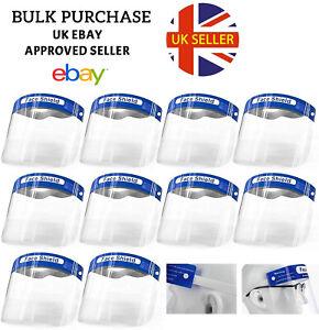 BLUE Face Shield Visor PPE Anti-Fog Protection Mask Transparent Clear Plastic