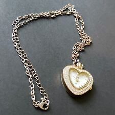 Heart Pendant Necklace Mini Watch Miniature SS Elegant Rhinestones Gold Tone