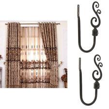 2x Heavy Duty Decorative Curtain Hook Drapery Tieback Hanger Holder Black