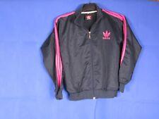 vtg 90s 00s adidas black womens pink tracksuit sports top jacket terrace wear