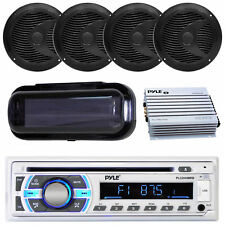 """Car Stereo Receiver 400W 4 Ch. Amplifier, 6.5"""" Black Speakers with Radio Shield"""