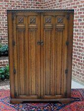 Antique English Oak Jacobean Tudor Style Large Wardrobe Amoire Cabinet Cupboard