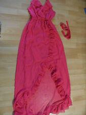NLY EVE schönes langes Neckholder Abendkleid m. Rüschen pink Gr. 34 NEUw. ZT316