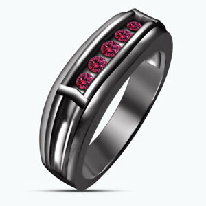 Mens 14K Black Gold Over Round 1 Ct Pink Sapphire 5-Stone Wedding Band Ring