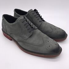 ECCO Brogue Derby Oxford Casual Dress Shoes Size 42 Gray Suede Leather
