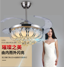 Silver Fan Lamp Chandelier LED Crystal Ceiling Light Lighting Remote Control