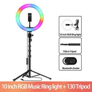 26cm RGB Ringleuchte Ringlicht Lampe W/ Selfie Handy Stativ für Live YouTube DHL