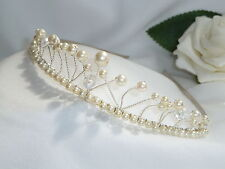 Handmade Bridal Prom Ivory Pearl & Clear Crystal Glass Silver tiara headband