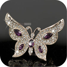 18K YELLOW GOLD GP MADE WITH SWAROVSKI CRYSTAL LUXURY BUTTERFLY BROOCH